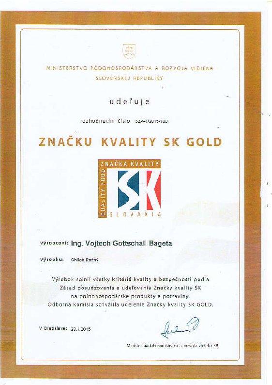 Znacka kvality SK GOLD CHlieb Lanovy - Bageta Pezinok